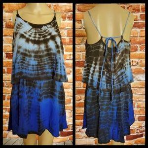 PJK Small Blue & Black Rayon DressvSmall EUC
